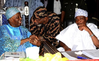 From right: Governor State of Osun, Ogbeni Rauf Aregbesola; Nigerian Poet, Writer and Social Critic, Odia Ofeimun and Ooni of Ife, Oba Okunade Sijuade, during a Two-Day Conference of Foremost Traditional Rulers in Osun on the Overall Development of the State at Centre for Black Culture and International Understandings, Abere, State of Osun