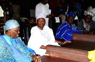 From left: Ooni of Ife, Oba Okunade Sijuwade; Governor State of Osun, Ogbeni Rauf Aregbesola; Orangun of Ila, Oba Wahab Oyedotun and Ataoja of Osogboland, Oba Jimoh Olanipekun, during a Two-Day Conference of Foremost Traditional Rulers in Osun on the Overall Development of the State at Centre for Black Culture and International Understandings, Abere, State of Osun