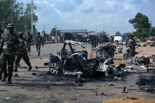 File Photo: Scene of a bomb blast in northern Nigerian city