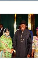 L-R: Malala Yousafzai and President Goodluck Jonathan in Abuja