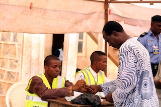 INEC officials during the voting process in Modakeke