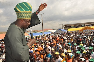 Ogun State Governor, Senator Ibikunle Amosun addressing a mammoth crowd at one of his campaigns recently