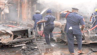 Men of Lagos State fire service at work