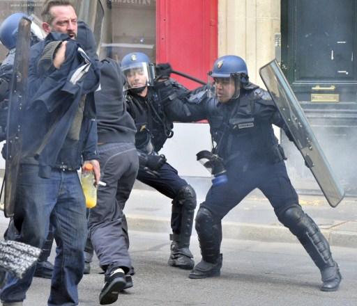 French riot police in Nante