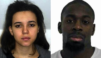 This comabination of images released on January 9, 2015 by the French police shows Hayat Boumeddiene (L) and Amedy Coulibaly (R), suspected of being involved in the killing of a policewoman in Montrouge on January 8. Coulibaly is also supected to have taken a hostage at a kosher grocery store on January 9, 2015