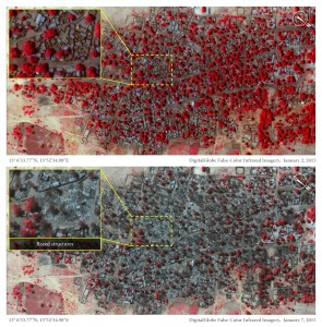 Satellite image of the village of Doro Baga (aka Doro Gowon) in north-eastern Nigeria taken on 2 Jan 2015. Image shows an example of the densely packed structures and tree cover. Satellite image 2, taken on 7 Jan 2015, shows almost all of the structures razed. The inset demonstartes the level of destruction of most structures in the town. The red areas indicate healthy vegetation.