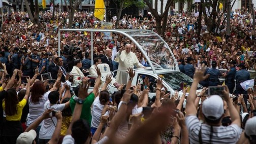 Pope Francis inside the jeepney popemobile, during the visit