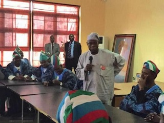Former president, Olusegun Obasanjo addressing APC party leaders at his Hilltop residence