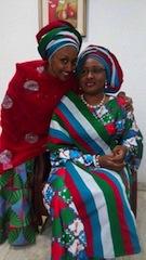 Mrs Aisha Buhari (R) and her daugther, Zahra