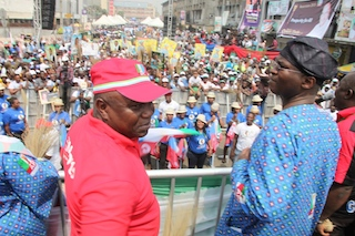 Fashola looks on at the rally