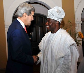 R-L: President Goodluck Jonathan welcomes John Kerry to Nigeria