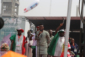Former Super Eagles captain, Joseph Yobo addressing the crowd on behalf of Nigerian youths