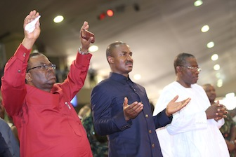 Chief of Staff to the President, Jones Arogbofa; Executive Secretary Christian Pilgrim Board, Mr Kennedy Okpara and President Goodluck Jonathan at Winners Chapel