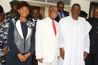 L-R: Faith Oyedepo, wife of the general overseer of Winners Chapel; Bishop David Oyedepo, general overseer of Winners Chapel and President Goodluck Jonathan after the Sunday service
