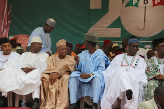 PDP governership candidate from the North, far right is    Nuhu Riba