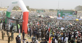 The crowd that attended President Jonathan's rally in Kano