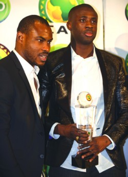 •Vincent Enyeama (left) congratulates Yaya Toure after he won the CAF African Footballer award yesterday, PHOTO- AFP