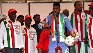 Former Super Eagles captain, Joseph Yobo campaigning for Jonathan in Rivers