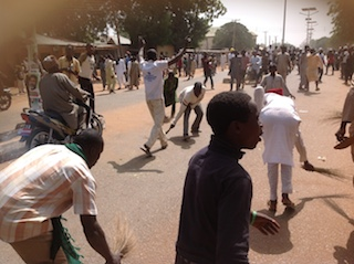 Youths sweeping off the PDP leaders in Sokoto today