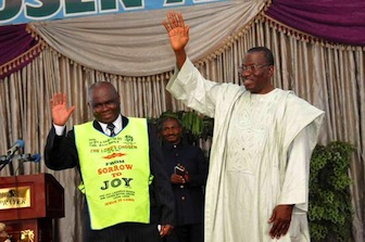 L-R: Pastor Lazarus Muoka of Lord's Chosen Charismatic Revival Movement and President Goodluck Jonathan