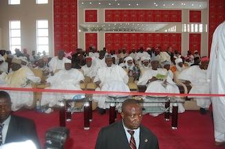Dignitaries at the event, Governor Aliyu, Speaker Aminu Tambuwal, General Yakubu Gowon, Maj. General Muhammadu Buhari, Governor Kwankwaso