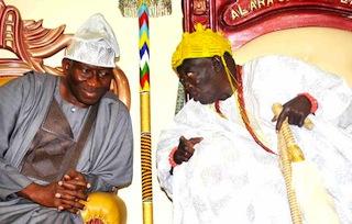 President Goodluck Jonathan with the Alara of Ilara Epe, Oba Adesanya during a visit to the Alara's palace