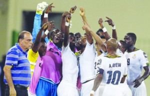 •Ghana players celebrate their qualification to the final of the 2015 AFCON against Ivory Coast after beating Equatorial Guinea yesterday