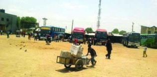 •Luxury buses loading travellers going down south at a bus station in Kano today