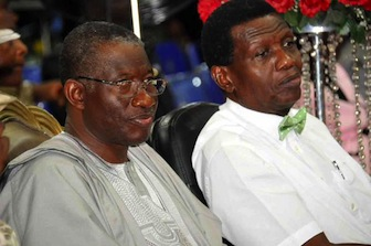 President Jonathan & Pastor Adeboye at the Holy Ghost Service of the Redeemed Church, on Friday