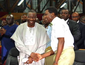 R-L: Pastor Adeboye welcomes President Jonathan to the Holy Ghost Service of the Redeemed Church