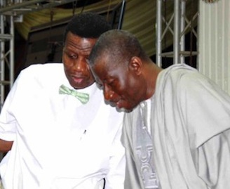 President Jonathan and Pastor Adeboye share some ideas at the Holy Ghost Service of the Redeemed Church, on Friday