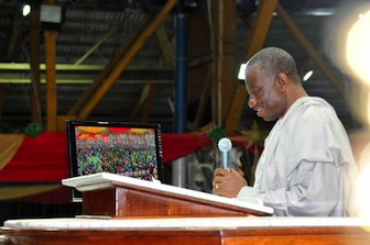 Few Words For Children of God: President Goodluck Jonathan on the pulpit at the Redemption Camp