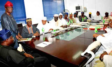 Gbenga Daniel addressing the Obas during their meeting with President Goodluck Jonathan