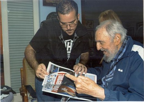 Castro with Randy Perdomo, president of Cuba's University Students Federation on 23 January