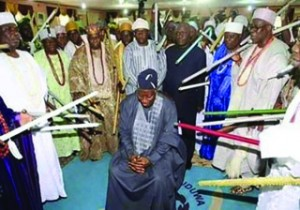 •Osun Obas praying for Jonathan at the weekend