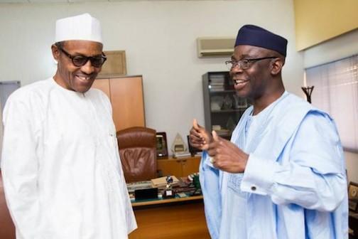 Bakare gesticulates as he celebrates with Buhari