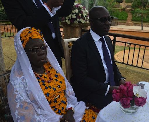 Mother of the groom, Hajia Aishetu Oshiomhole and Mr Godwin Obaseki, Chairman, Edo State Economic Team at the Wedding Registry