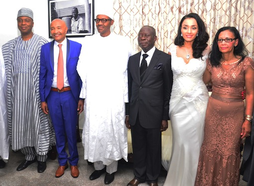 enator Bukola Saraki; Mrs Fortes, father of the bride; president-elect, Muhammadu Buhari; Governor Adams Oshiomhole; his wife, Iara Oshiomhole and Mrs Fortes, mother of the bride