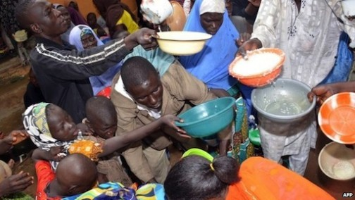 FILE PHOTO: Some internally displaced persons being fed