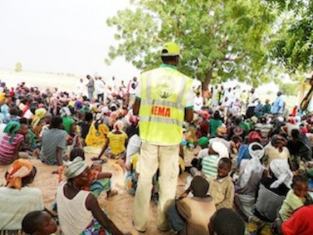 FILE PHOTO: NEMA official addressing Internally Displaced Persons