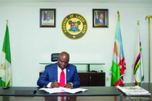 •FIRST DAY AT WORK: Lagos State Governor, Akinwunmi Ambode this morning in his office