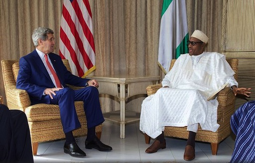 US Secretary of State, John Kerry (L) and President Muhammadu Buhari