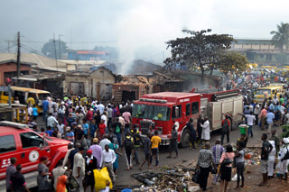 Lagos State Fire Service arriving the cene
