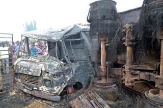 The burnt fuel tanker