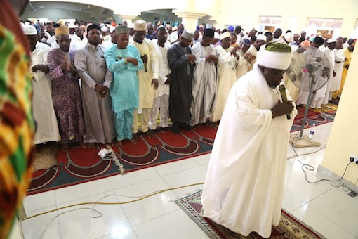 Chief Imam of Nasfat, Alhaji Abdullahi Gbade Akinbode, leading other Muslims offering prayer to the Almighty Allah to maker this yera Eid-el-Fitr