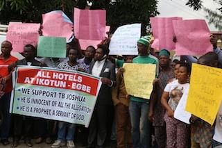 Members of Church of All Nation at the Ikeja High Court today 8.7.2015 Photo Idowu Ogunleye