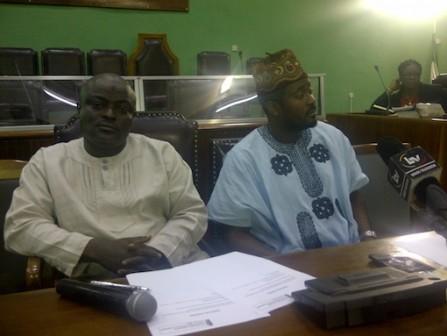 Speaker Mudashiru Obasa with lawmaker and Nollywood actor, Desmond Elliot