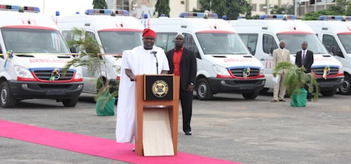Lagos State Governor, Mr. Akinwunmi Ambode addressing  the State Officials, traditional rulers and other Stakeholders during the commissioning of 20 Mobile Care Unit and 26 Number Transport Ambulances at Lagos House, Ikeja, on Monday, August 31, 2015.