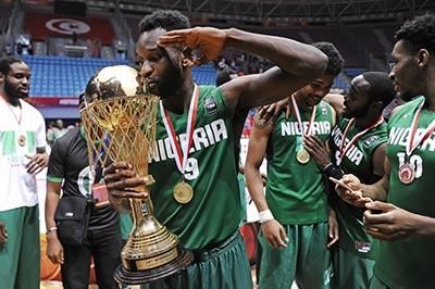 Chamberlain Oguchi of Nigeria celebrates