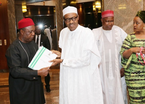 President Buhari receives  RMAFC report on cost of governance, from Chairman, Elias Mbam
